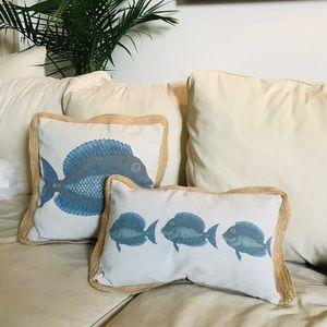 Other - Fish print pillow cover set raffia trim natural